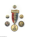 """Political:Pinback Buttons (1896-present), Theodore Roosevelt Button Collection Six different 7/8"""" to 1 1/4"""" items as shown. Five are excellent, while the large item..."""