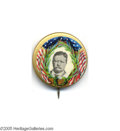 "Political:Pinback Buttons (1896-present), Awesome 1 1/4"" 1912 Teddy Roosevelt Button We have seen thisspectacular design for the 1908 candidates, but cannot recall t..."