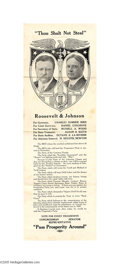 """Political:Posters & Broadsides (1896-present), Rare 1912 Roosevelt - Johnson Jugate Broadside Jugate items of anygenre for this """"Bull Moose"""" ticket are highly prized, and..."""