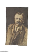 Political:Textile Display (1896-present), Huge Hand-painted Theodore Roosevelt Banner Similar to the largeTaft banner offered elsewhere in this sale, and found toget...