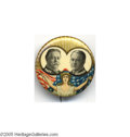 """Political:Small Miscellaneous (1896-present), Great Multicolor 1 1/4"""" Taft and Sherman Jugate Button This bold design was introduced in 1904, but is much scarcer for the ..."""