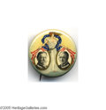 """Political:Pinback Buttons (1896-present), Classic """"Miss Liberty"""" Jugate Design for the 1908 Taft and Sherman Ticket This gorgeous multicolor 1 1/4"""" button design was ..."""