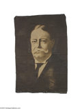 Political:Textile Display (1896-present), Huge Hand-painted William Howard Taft Banner This canvas banner wasprobably executed by a sign or scenery painter of the da...