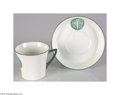 """Political:3D & Other Display (1896-present), Suffrage """"Freedom"""" Cup and Saucer Designed by Sylvia Pankhurst. In 1908 Sylvia Pankhurst, militant Suffragette, designed th..."""