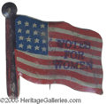 "Political:Ribbons & Badges, Votes for Women Tin Flag This 1 1/2"" x 1 1/4"" red, white and blue tin flag is stamped in blue with the words, ""VOTES FOR WOM..."