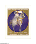 Political:Posters & Broadsides (1896-present), Wonderful, Full Color Suffrage Poster Pictures Inez Milholland Boissevain. Dressed in white and riding a white horse, carry...
