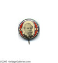 "Political:Pinback Buttons (1896-present), Rare and Colorful 7/8"" Charles Evans Hughes Variety Button While afamiliar design for the 1908 and 1912 candidates, it is ..."