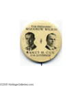 """Political:Pinback Buttons (1896-present), The """"Holy Grail"""" of Political """"Coat-Tail"""" Buttons: the 1912 Wilson and Cox Jugate Always spoken of in reverential tones, th..."""