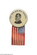"""Political:Pinback Buttons (1896-present), Rare 1 3/4"""" Woodrow Wilson Pin, with Great """"For God and Our Country"""" Slogan This desirable large Wilson button usually comes..."""