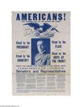"""Military & Patriotic:WWI, Bold and Graphic World War One Woodrow Wilson Poster 28"""" x 42""""poster issued in 1918, urging support for Woodrow Wilson by g..."""