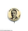 "Political:Pinback Buttons (1896-present), Another Extremely Rare 1 1/4"" Cox Button Like its sister lot withdark gray background, this is the plate specimen from the ..."