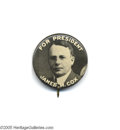 "Political:Pinback Buttons (1896-present), Important 1 1/4"" 1920 Cox Rarity The plate example from theoriginal 1896-1972 Hake book (page 108). It is so rare an occas..."