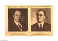 "Political:Posters & Broadsides (1896-present), James Cox - Franklin Roosevelt Jugate Poster 11"" x 16.5"" sepia poster featuring the most elusive and desirable of 20th centu..."