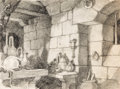 Animation Art:Concept Art, Snow White and the Seven Dwarfs Evil Queen's Lab BackgroundLayout Drawing (Walt Disney, 1937)....