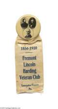 """Political:Ribbons & Badges, Key 1920 Warren G. Harding Trigate Badge At top is a large 2 1/8"""" celluloid button depicting the Presidential candidate alo..."""