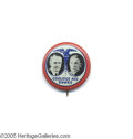 """Political:Pinback Buttons (1896-present), Pristine 7/8"""" Litho Coolidge - Dawes Jugate Button Unimprovably choice example of this beautiful design and a very scarce va..."""