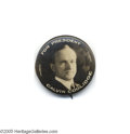 """Political:Pinback Buttons (1896-present), Very Rare 1 1/4"""" Coolidge for President Button Variety While the photo is one seen on other Coolidge button varieties, this ..."""