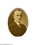 Political:Pinback Buttons (1896-present), Extremely Rare Large Calvin Coolidge Oval Pin Listed in theoriginal 1896-1972 Hake book as COO-88, it is actually a 1920 Vi...