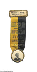 """Political:Ribbons & Badges, Fine Coolidge Delegate's Badge to the 1924 Maryland State Convention Bold Maryland state colors dated, """"May 14, 1924."""" Inco..."""