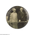 """Political:Pinback Buttons (1896-present), Most Unusual 3 1/2"""" Celluloid Paperweight Mirror with Calvin Coolidge and Grace Coolidge By a wide margin the best item we h..."""