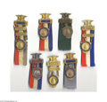 Political:Ribbons & Badges, Superb Collection of Seven Different Official Badges From the 1924 Republican National Convention Made of heavy gilt brass, ...