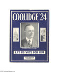 Political:Small Paper (1896-present), Unusual Calvin Coolidge Campaign Sheet Music Bold design and richblue color make this an attractive Coolidge display item. ...