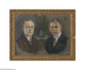 Political:3D & Other Display (1896-present), 1924-dated Jugate Oil Painting of Calvin Coolidge and Charles Dawes Unusual and well-executed jugate painting, signed and da...