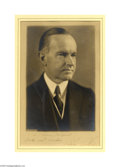 Political:3D & Other Display (1896-present), Elegant Calvin Coolidge Autographed Studio Photo Rich,studio-quality Harris and Ewing print, boldly inscribed below onmat...