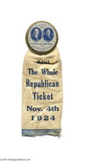 """Political:Pinback Buttons (1896-present), Superb Large 1 3/4"""" 1924 Calvin Coolidge and Charles Dawes JugateButton One of the best jugate designs of the 1920s era, an..."""