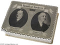 Political:3D & Other Display (1896-present), Great Hoover and Curtis Jugate Candy Box Deep lid slides down overbox. Lid decorated with silver/white checked foil and el...
