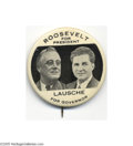 """Political:Pinback Buttons (1896-present), Imposing Large 2 1/8"""" FDR """"Coat-tail"""" Button from Ohio Rare and long-considered one of the better Franklin Delano Roosevelt ..."""