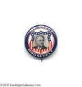 """Political:Pinback Buttons (1896-present), Breathtaking 1"""" Franklin Roosevelt Button Design This eye-catching design is considered one of the very most beautiful of t..."""