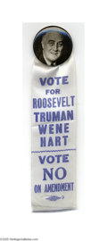 """Political:Ribbons & Badges, Most Unusual 1944 Franklin D. Roosevelt Badge This real-photo 1 1/4"""" black and white button is in itself highly unusual, bu..."""