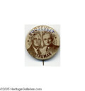 """Political:Pinback Buttons (1896-present), Key 1"""" 1944 Franklin D. Roosevelt - Harry Truman Jugate Pin Along with its larger version, the only jugate button variety m..."""