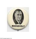 Political:Pinback Buttons (1896-present), A Literally Unique Franklin Roosevelt Button This bold, distinctive item is the plate example from Hake's original 1896-1972...