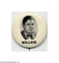 Political:Pinback Buttons (1896-present), A Literally Unique Wendell Willkie Button Variety This is the plate example from Hake's original 1896-1972 book. We have c...