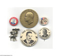 Political:Miscellaneous Political, Interesting Lot of Campaign Buttons with Dwight EisenhowerInaugural Medal From the 1940s and 1950s, here are six different...