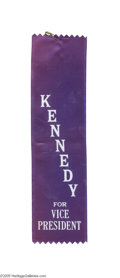 Political:Ribbons & Badges, Rare 1956 Democratic Convention Ribbon, from John F. Kennedy's Vice-Presidential Boomlet This flurry occasioned the producti...