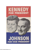 "Political:Posters & Broadsides (1896-present), Bold Kennedy and Johnson Jugate Poster 13.5"" x 21"" jugate posterfor John F. Kennedy and Lyndon Johnson, elected in 1960. I..."