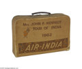 Political:3D & Other Display (1896-present), Jacqueline Kennedy's Overnight Case from her 1962 Trip to India andPhotograph This overnight case was presented to Mrs. Ken...