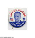 "Political:Pinback Buttons (1896-present), Key Lyndon Johnson ""Civil Rights"" Button Rarity Rarity and subject matter combine to make this 1 3/4"" litho one of the most ..."