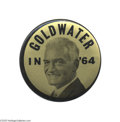 "Political:Pinback Buttons (1896-present), Exceedingly Rare 3 1/2"" Goldwater Manufacturer's Sample Button Thisdifferent black and gold design was clearly made just as..."