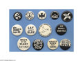 """Political:Pinback Buttons (1896-present), Rare Vietnam War Era """"Proof"""" Protest Pins The manufacturer, before printing large quantities of pinback buttons, would make ..."""