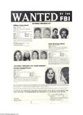 Political:Miscellaneous Political, 1974 Patty Hearst Original FBI Most Wanted Poster Thisgranddaughter of publishing magnate William Randolph Hearst was astu...