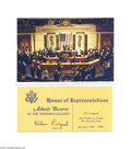 """Political:Small Paper (1896-present), Official """"Photographer"""" Pass to the Counting of the 2001 ElectoralVote Stamped """"photographer"""" on reverse, this is a histori..."""