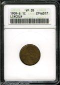 Lincoln Cents: , 1909-S 1C VF35 ANACS. ...