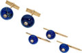 Estate Jewelry:Cufflinks, Diamond, Lapis Lazuli, Gold Dress Set, Julius Cohen. ... (Total: 4Items)