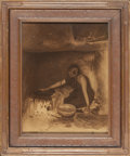 Photographs, Edward Sheriff Curtis (American, 1868-1952). The Piki Maker, 1906. Orotone. 14-1/4 x 11 inches (36.2 x 27.9 cm). Signed ...