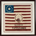 Political:Textile Display (pre-1896), William Henry Harrison: A Spectacular Large 1840 Silk Campaign Flag. ...