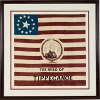 William Henry Harrison: A Spectacular Large 1840 Silk Campaign Flag